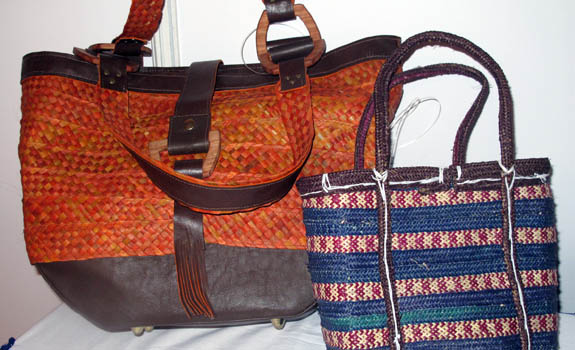 Our first bag (left) - on the right is a traditional, local bag - both are made with ukili (dried palm leaf)