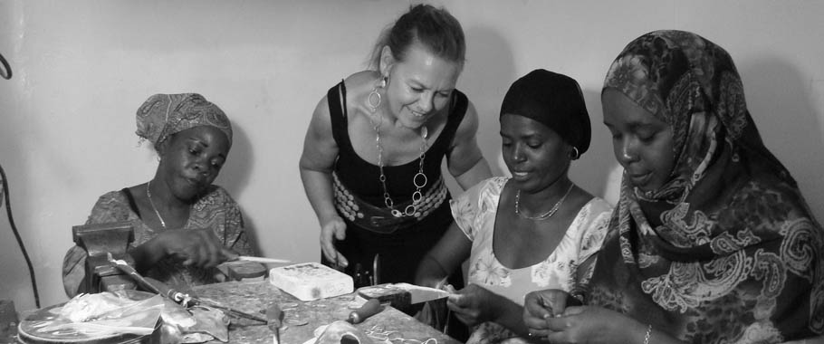 Julie trains women, for free, in the skill of Silver Jewellery making; creating mother pearl from locally farmed Oyster shell