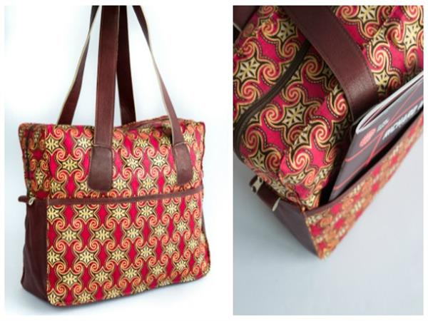 Large overnight holdall in kitenge with leather trim and handles, sides and base. Large internal and external pockets.  Available in a variety of colourful...