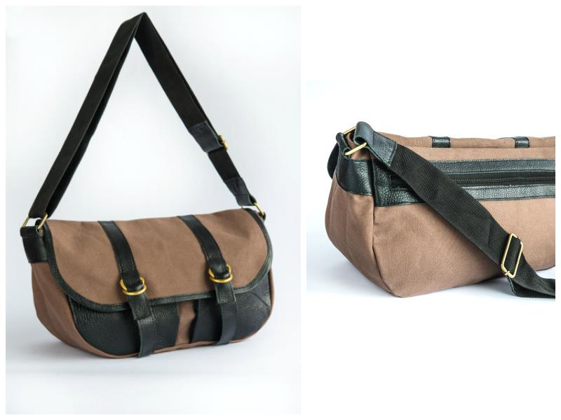 Roomy safari tent canvas shoulder bag.  Two leather external pockets at the front, one zipper pocket at the back. Adjustable strap.  Fully lined in African...