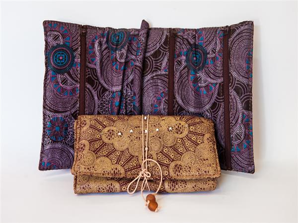 Padded kitenge jewellery pouch embellished with beads and with ring post & three zip up pockets. Beaded tie closure. 18 x 12 cm.