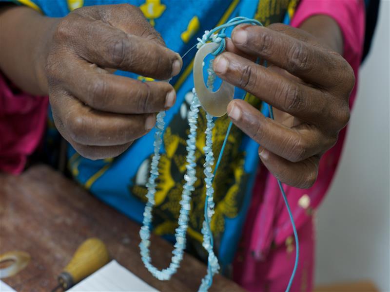 Arafa makes the collection from Tanzanian aqua marines.